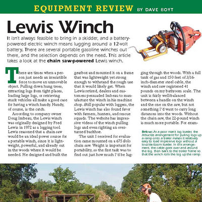 Lewis Winch reviewed in Sawmill Magazine