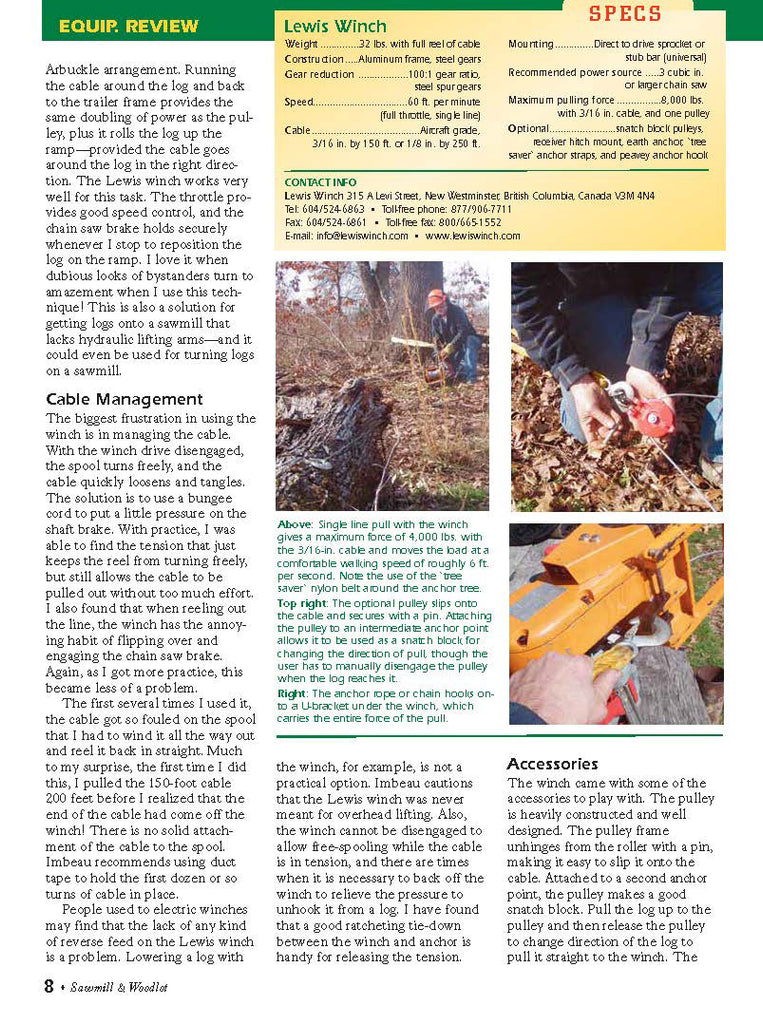 Lewis Winch Sawmill Magazine Review