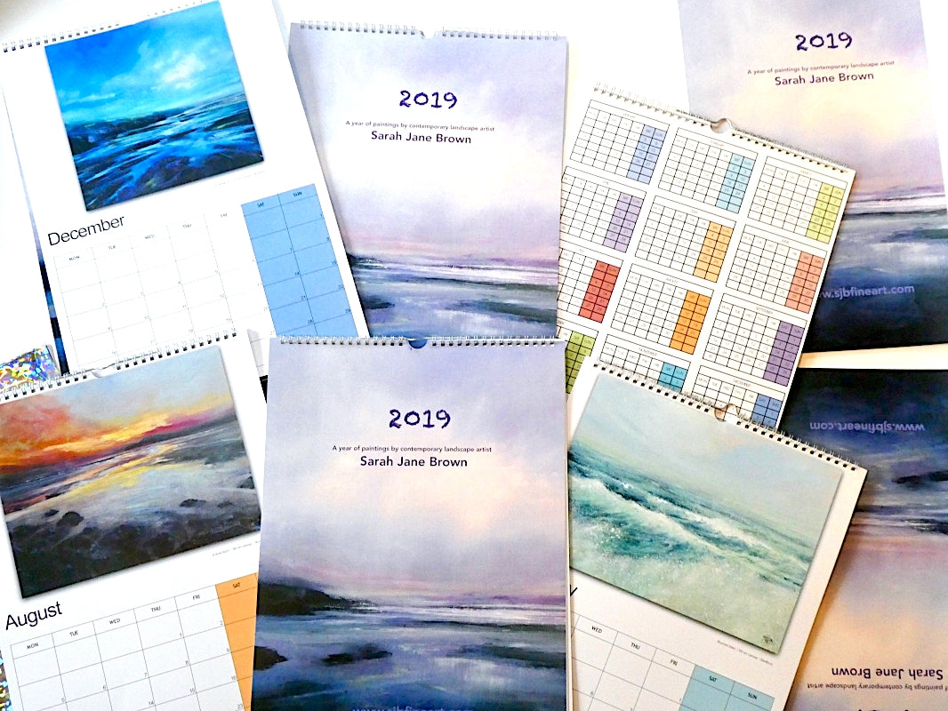 2019 Calendars by artist Sarah Jane Brown. Colourful pages of beautiful paintings.