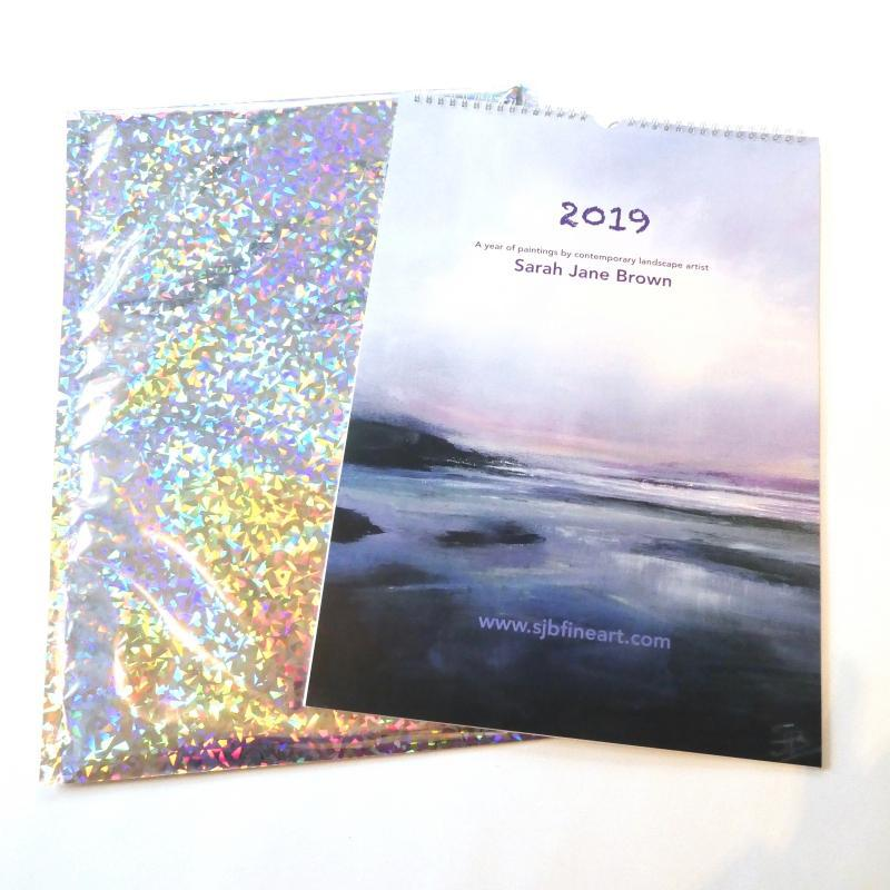 2019 Calendar by artist Sarah Jane Brown. Gift wrapped in a sparkly mailing bag