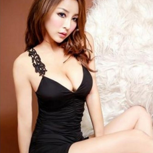 Women Sexy Club Dress Lingerie Clubwear Babydoll Dress + G-String BK
