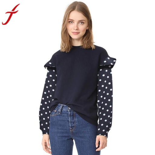 Feitong Ruffles Blouse Womens Casual Dot Printed Stitching O Neck Long Sleeve Top Blouse Fashion Style Patchwork Autumn Blusas - World Fashion Emporium