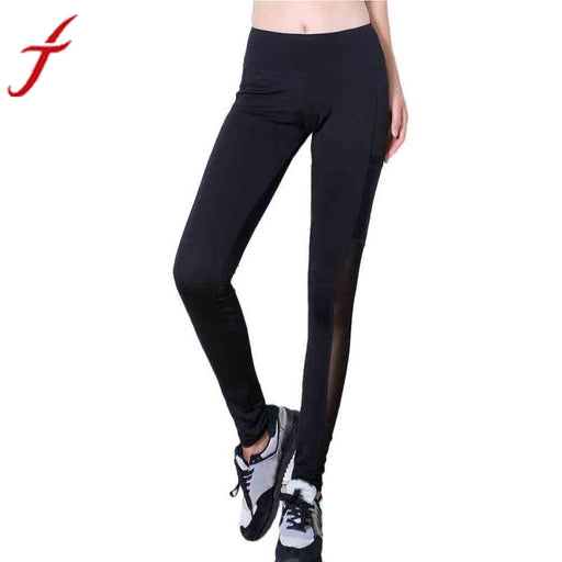 Pocket Workout Leggings Hot Sale Sexy Women High Waist Skinny Patchwork Mesh Push Up Mid Full Length Pants