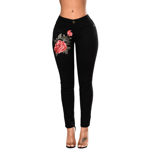 Women Flower Embroidered Jeans High Waist Butt Lift Hip Fashion Skinny (Black)