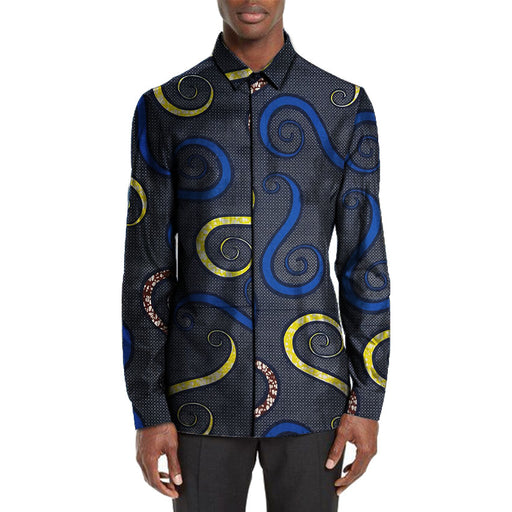 African men's dashiki shirt bright wax print shirts fashion turn down collar Ankara shirt men long sleeve tops African clothing - World Fashion Emporium