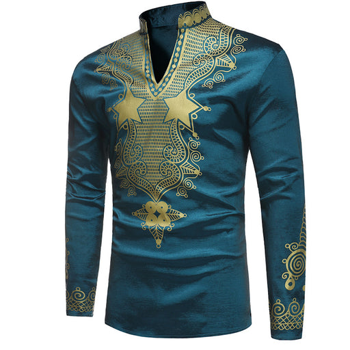 African Dashiki Shirt Men 2018 Brand New Mandarin Collar T-shirt Men Africa Clothing Slim Fit Long Sleeve Hip Hop Top Tee Shirt - World Fashion Emporium