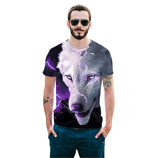 Cool T-shirt 3D T-shirt Print Tibetan Wolf Short Sleeve Summer Tops Tees Tshirt Fashion Animal Print Shirt - World Fashion Emporium