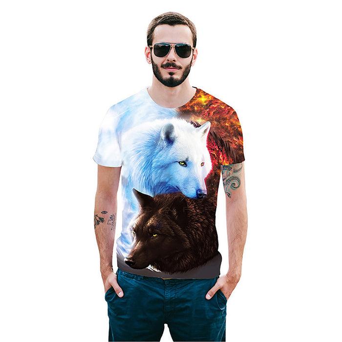 Cool T-shirt 3D T-shirt Print Two Wolves Short Sleeve Summer Tops Tees Tshirt Fashion Animal Print Shirt - World Fashion Emporium