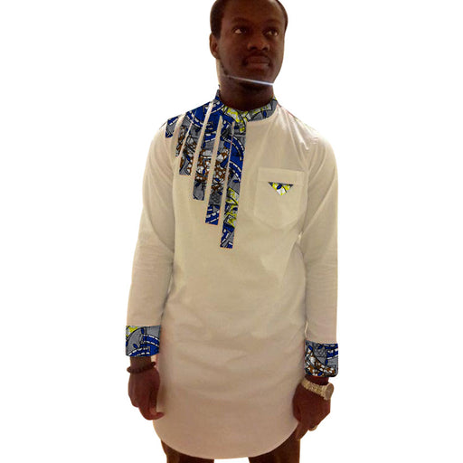 African Print Men's Long Shirt Dashiki Ankara Clothing Fashion Print White Patchwork Men's Shirt  Stand Collar Long Sleeve Tops - World Fashion Emporium