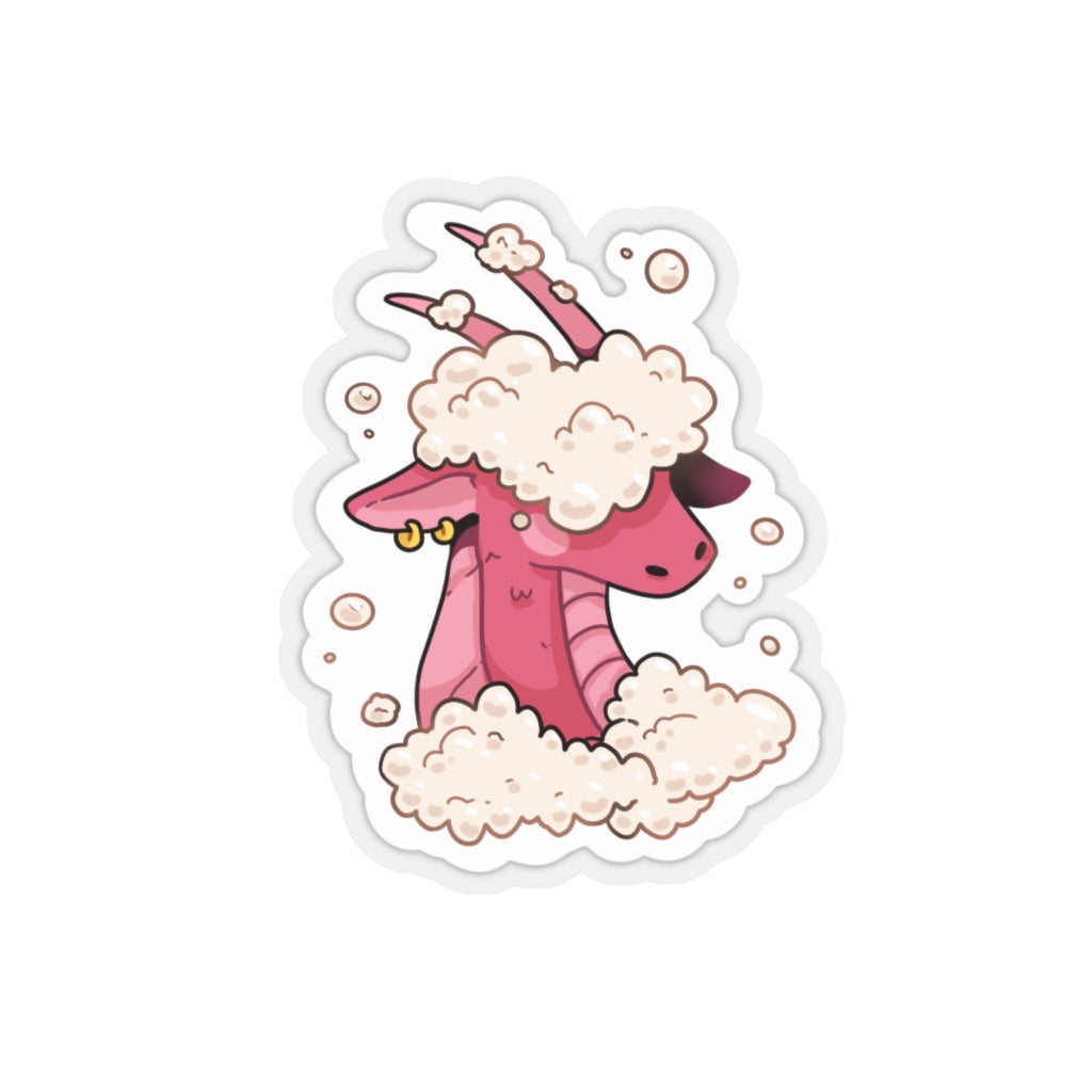 Bubbly Dragon Sticker on white background.