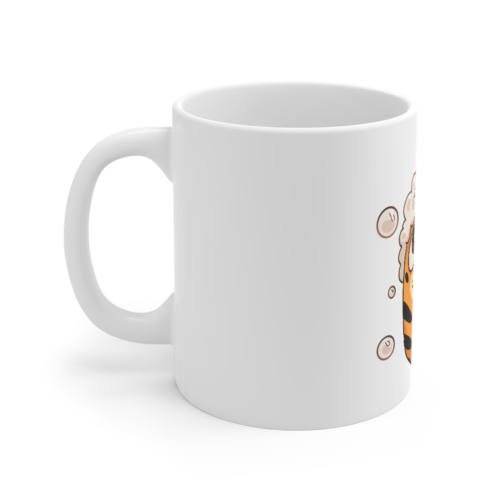 Tiger Bath Mug on white background.