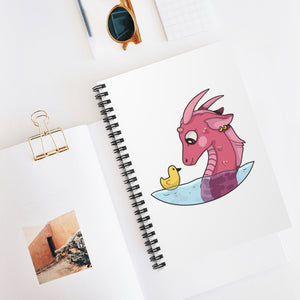 Dragon + Ducky Spiral Notebook on white background.