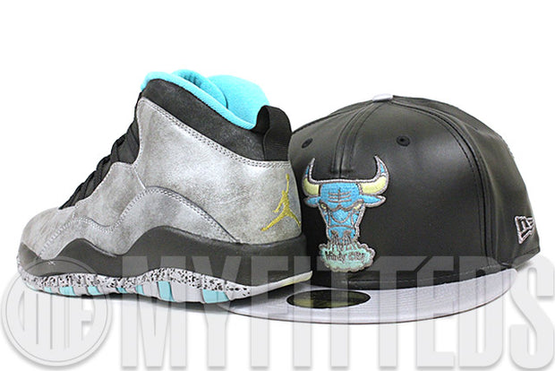 Chicago Bulls Jet Black Faux Leather Placid Gray Twill Seaglass Lady Liberty Air Jordan X New Era Hat