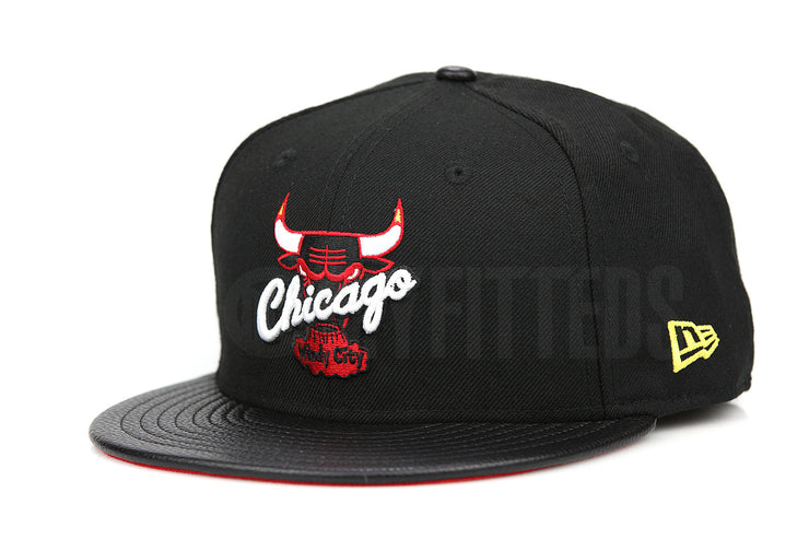 Chicago Bulls Jet Black Faux Pebbled Moonbeam Air Jordan XIII / XIV Playoffs New Era Fitted Cap