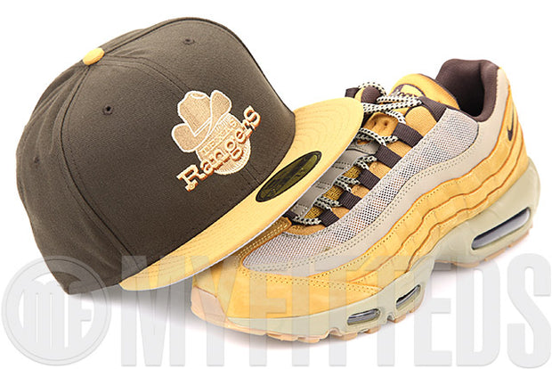 Texas Rangers Mahogany Birch Veneer Flax Pack Air Max 95 Matching New Era Fitted Cap