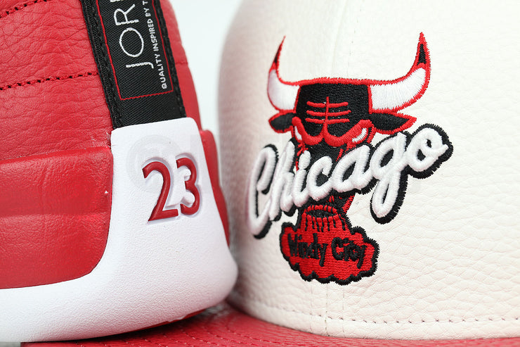 "Chicago Bulls Glacial White Scarlet Faux Pebbled Air Jordan XII ""Gym Red"" New Era Fitted Cap"