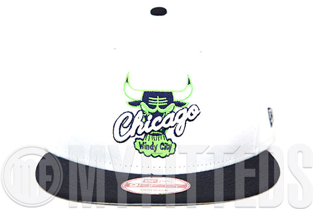 Chicago Bulls Glacial White Midnight Navy Air Jordan VI Low Ghost Green Matching New Era Snapback