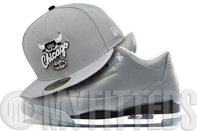 Chicago Bulls Placid Grey Metallic Silver Sparkle Jet Black Air Jordan III 5Lab3 Matching New Era Hat
