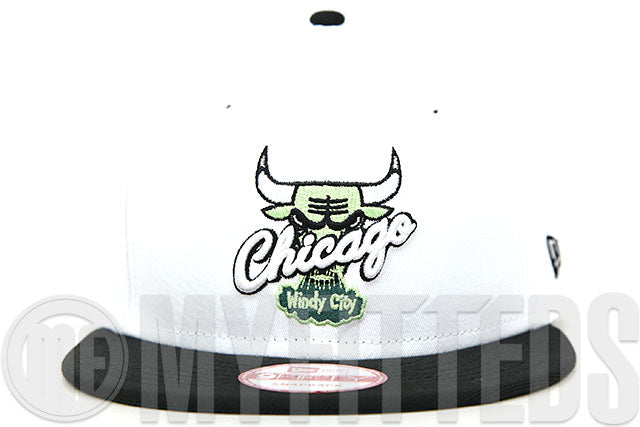 "Chicago Bulls Glacial White Jet Black Emerald Moss Air Jordan XIV White ""Oxidized Green"" New Era Hat"