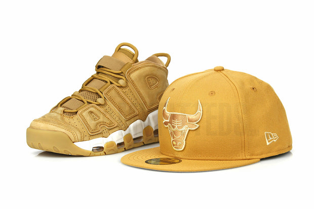 Chicago Bulls Omni Birch Veneer Air Jordan I, VI, XIII, Air More Uptempo 96 Flax New Era Hat