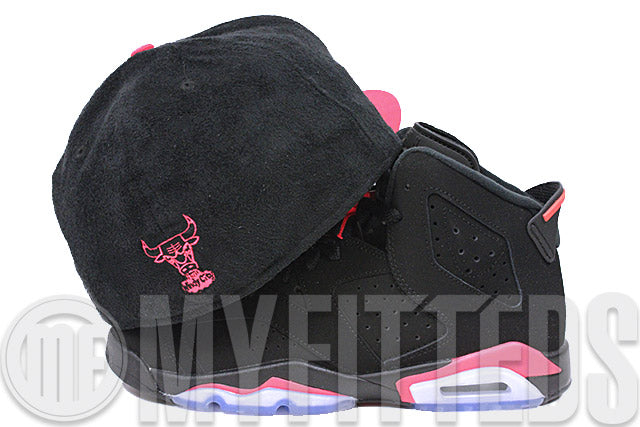 Chicago Bulls Jet Black Faux Suede Infrared Bliss Air Jordan VI Infrared Matching FULL New Era Fitted Cap