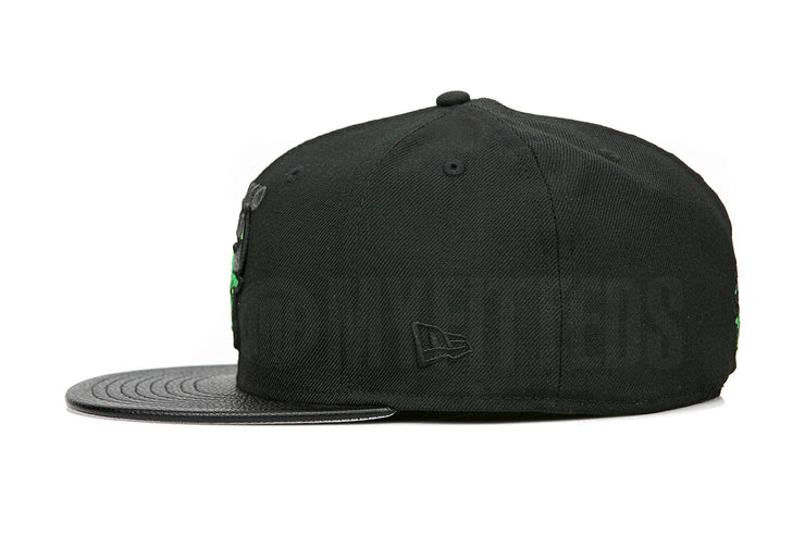 "Chicago Bulls Jet Black Faux Pebbled Latitude Green Air Jordan XIII ""Altitude"" New Era Hat"