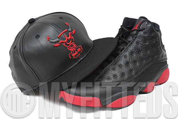 Chicago Bulls The Trace Jet Black Faux Leather & Melton University Red Air Jordan Retro XIII New Era Hat