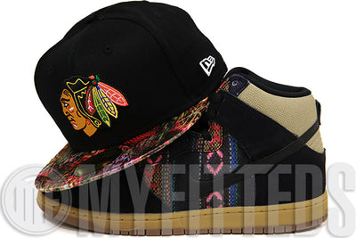 Chicago Blackhawks Jet Black Hacky Sack Dunk High Pro SB Matching New Era Fitted Cap