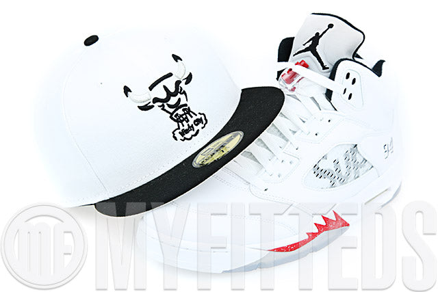 Chicago Bulls Optic Glacial White Jet Black Garnet Fire Air Jordan V x Supreme White New Era Fitted Cap