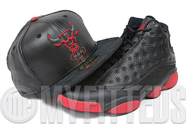 Chicago Bulls The Trace Jet Black Faux Leather & Suede University Red Air Jordan Retro 13 Matching New Era Hat