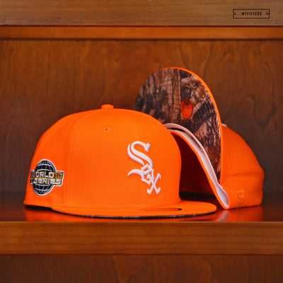 "CHICAGO WHITE SOX 2005 WORLD SERIES ""SAFETY ORANGE"" NEW ERA FITTED CAP"