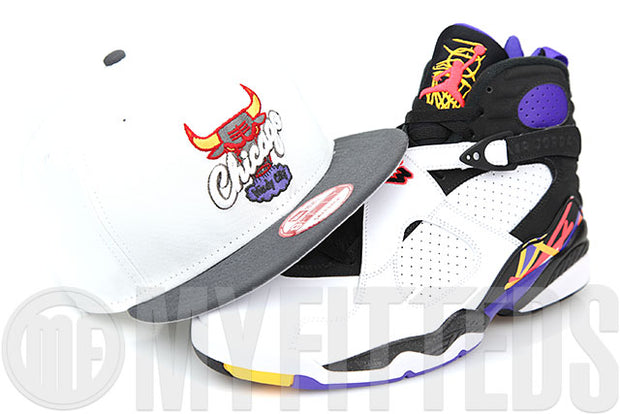 Chicago Bulls Glacial White Carbon Graphite Air Jordan VIII Three Time's A Charm New Era Snapback Hat