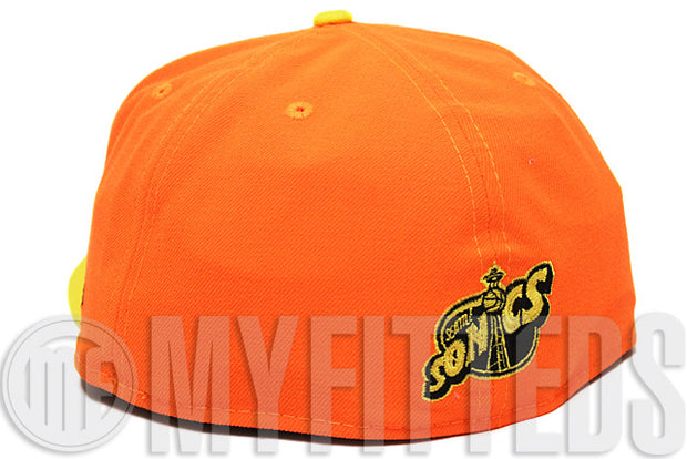 Seattle Supersonics Atomic Saffron Lemon Yellow KD V Elite Matching New Era Fitted Cap