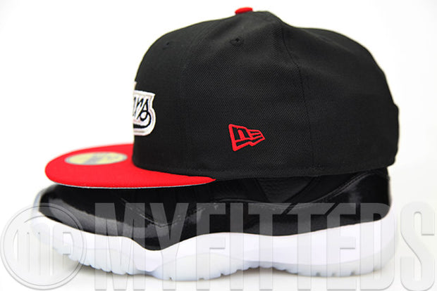 "Idaho Falls Chukars Jet Black Scarlet White Air Jordan XI ""72-10"" Matching New Era Fitted Hat"