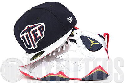"UTEP Miners Midnight Navy Metallic Silver Scarlet Air Jordan VII ""Olympic"" Matching New Era Fitted Cap"