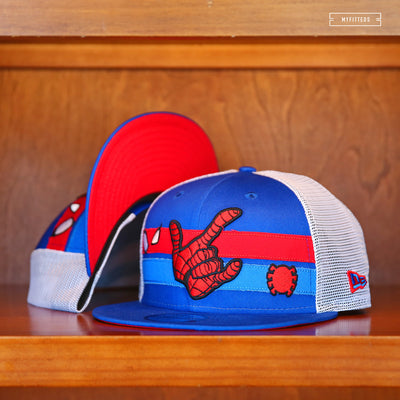 SPIDER-MAN TRUCKER STRIPE CHARACTER ELEMENTS NEW ERA SNAPBACK HAT