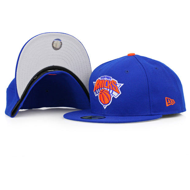 NEW YORK KNICKS MADE IN USA GREY BRIM ALTERNATE NEW ERA FITTED CAP