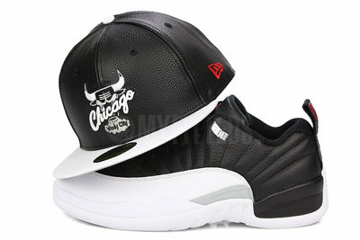 "CHICAGO BULLS FAUX PEBBLED AIR JORDAN XII LOW ""PLAYOFFS"" MATCHING NEW ERA 9FIFTY SNAPBACK HAT"
