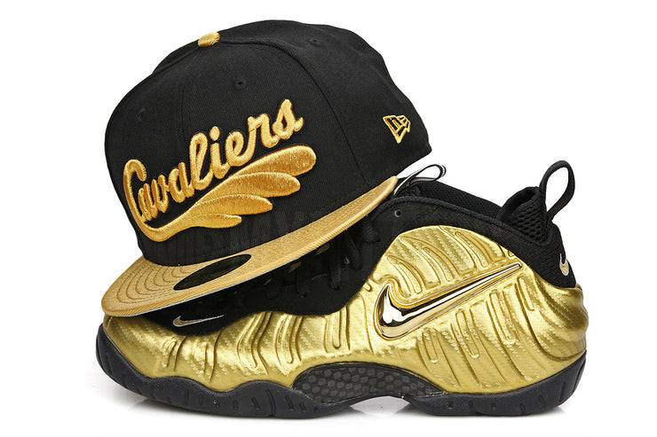 "Cleveland Cavaliers Jet Black Metallic Gold Air Foamposite Pro ""Metallic Gold"" New Era Hat"