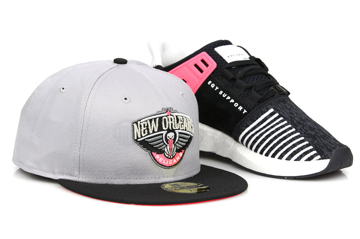 New Orleans Pelicans Placid Gray Jet Black Infrared EQT Support 93/17 New Era Hat
