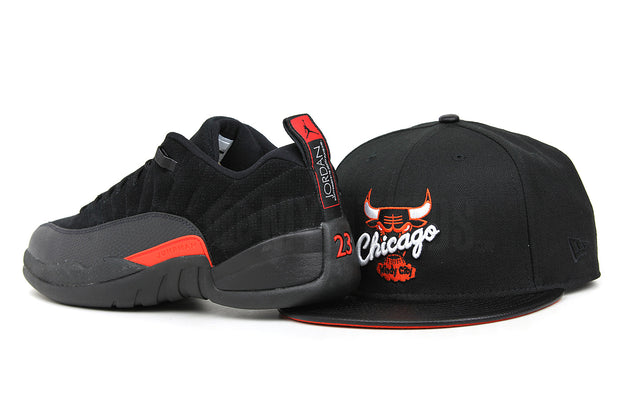 "Chicago Bulls Jet Black & Faux Pebbled Orangeade Air Jordan XII Low ""Black Max Orange"" New Era Snapback"