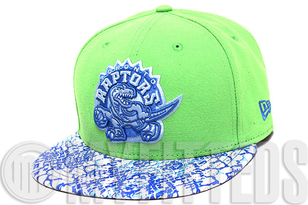 Toronto Raptors Ostrich Snake Skin Leather Visor Treasure Isle Green Sky Blue White New Era Strapback