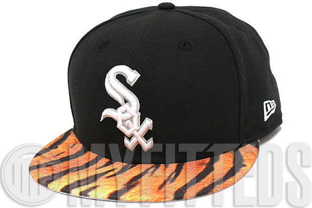 Chicago White Sox Jet Black Glacial White Tiger Print Graffiti Print MLB New Era Fitted Hat