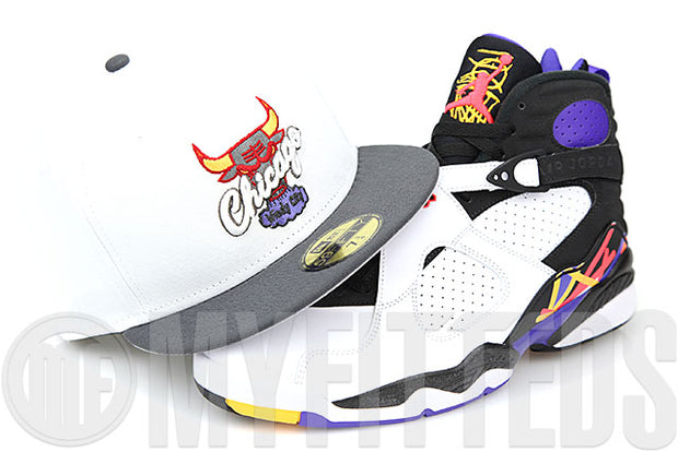 Chicago Bulls Glacial White Carbon Graphite Air Jordan VIII Three Time's A Charm New Era Fitted Cap