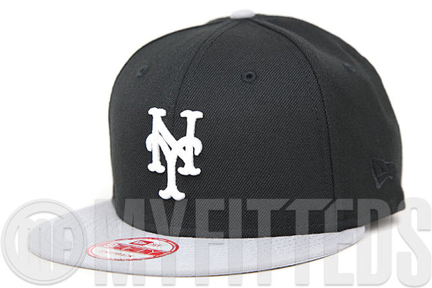 New York Mets Jet Black Placid Grey Glacial White Custom New Era 9FIFTY Snapback Hat