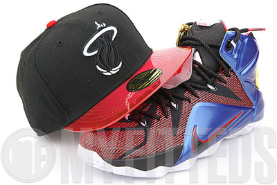 Miami Heat Jet Black Clear Garnet Fire What the LeBron XII NBA New Era Fitted Cap