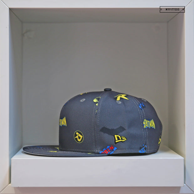 BATMAN & ROBIN POWER COUPLE SCATTER AOP NEW ERA SNAPBACK HAT