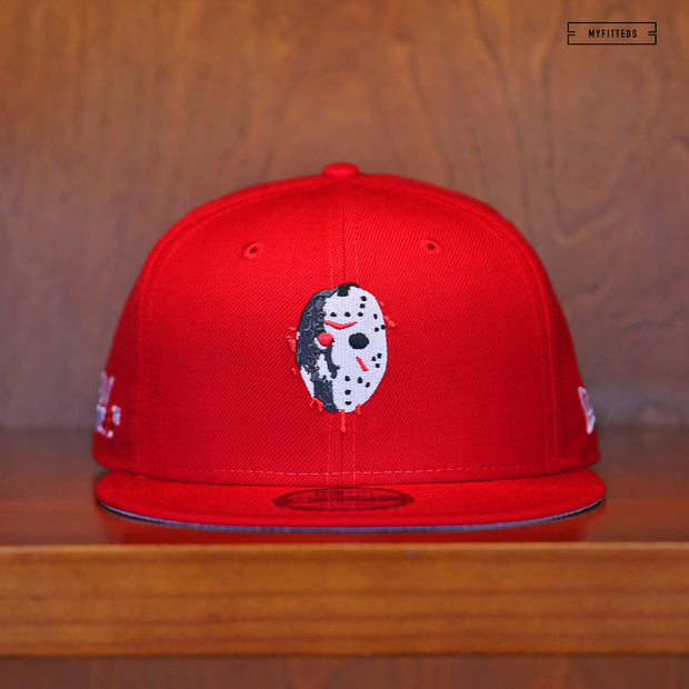 "FRIDAY THE 13TH JASON VOORHEES ""DIRTY BLOOD MASK"" SCARLET NEW ERA SNAPBACK"