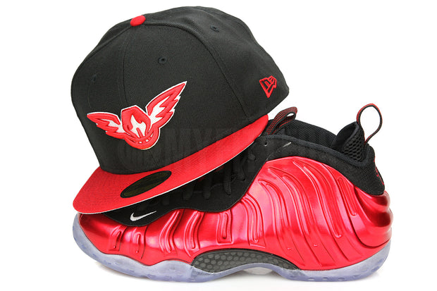 "Atlanta Hawks Jet Black Scarlet Glacial White Air Foamposite One QS ""Metallic Red"" New Era Fitted Cap"