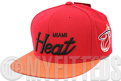 f67e888d37b Miami Heat Scarlet Atomic Orangeade Reflective Metallic Flash Pack Mitchell  and Ness Snapback Hat